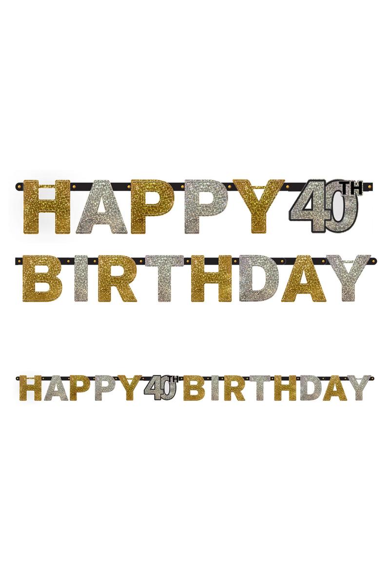 Işıltılı Doğumgünüm 40 Yaş Harf Afiş 1 Adet