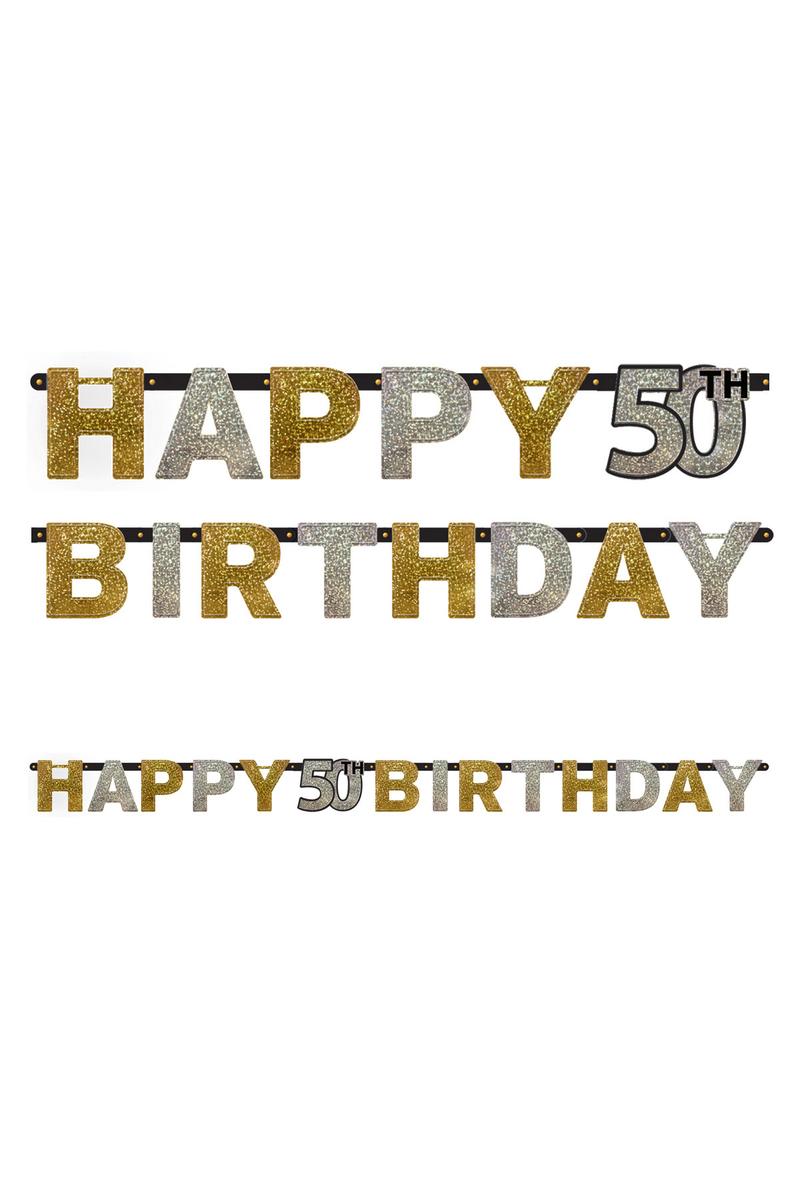Işıltılı Doğumgünüm 50 Yaş Harf Afiş 1 Adet