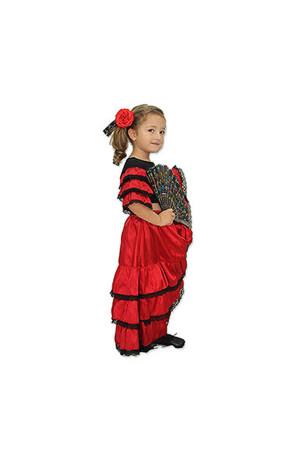 İspanyol Kız Çocuk Kostümü 5-6 Yaş - Thumbnail