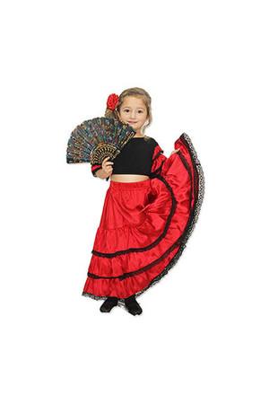 İspanyol Kız Çocuk Kostümü 9-10 Yaş - Thumbnail