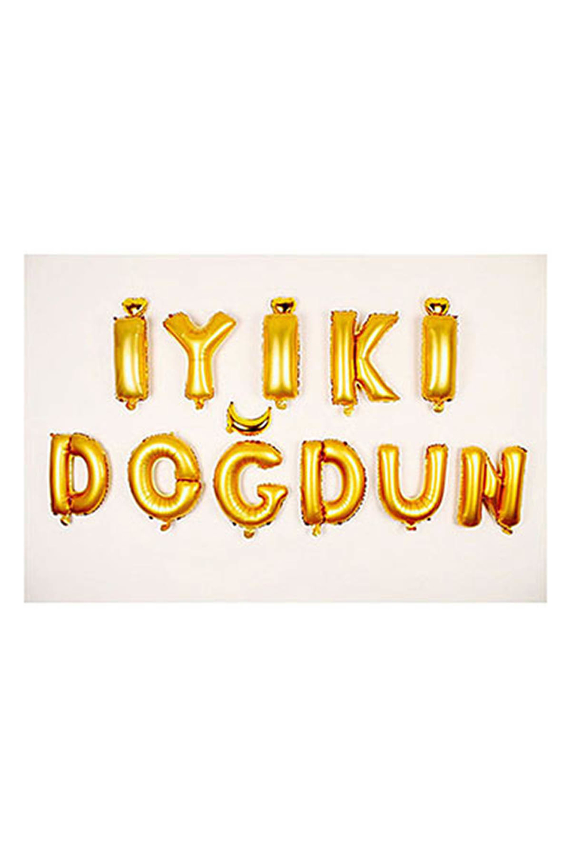 İyi ki Doğdun Altın Harf Folyo Balon Set 35cm 11li