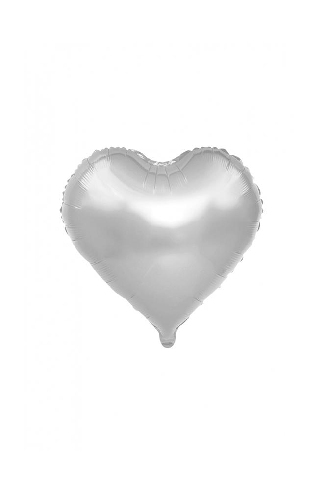 Kalp Folyo Balon 25cm (10 inch) Gümüş 1 Adet
