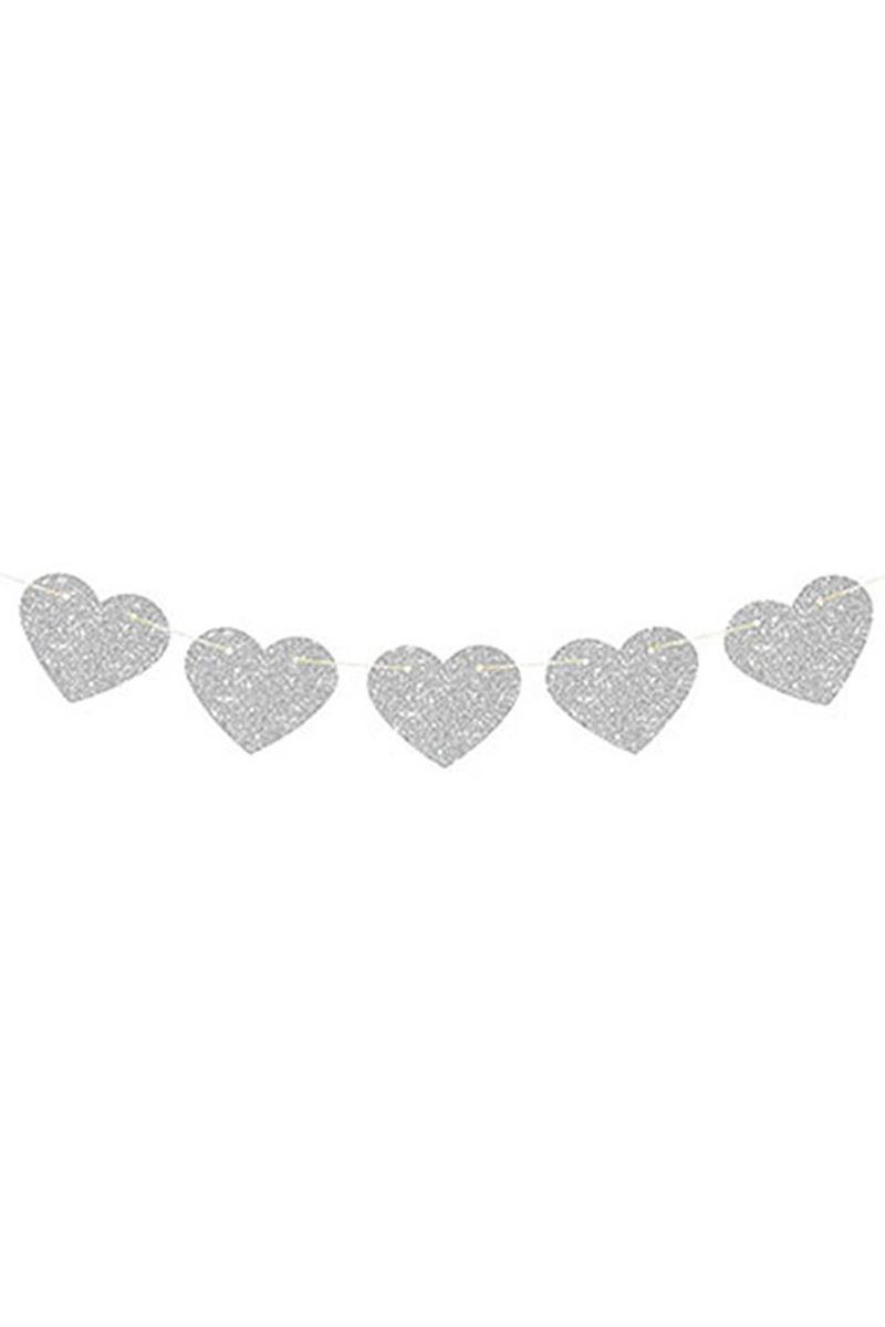 Kalp İp Asma Süs Simli Gümüş 1 Adet - Thumbnail