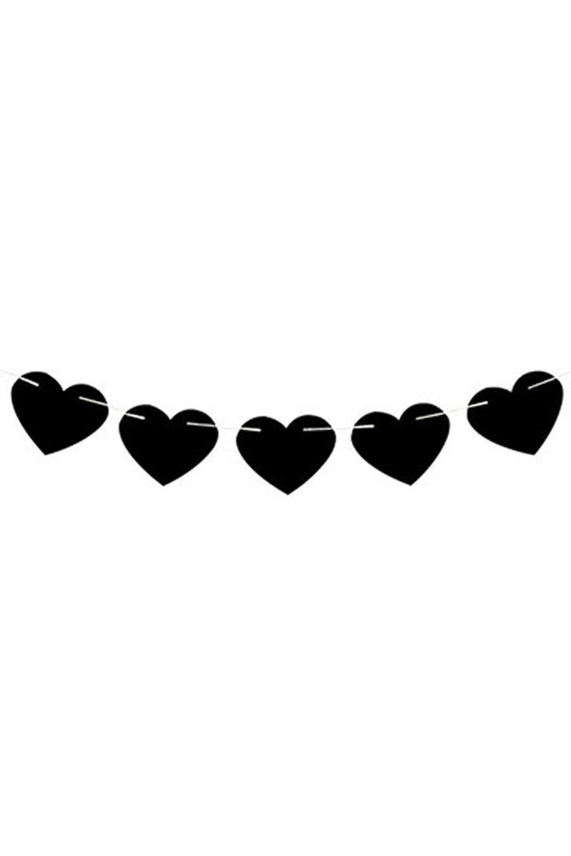 Kalp İp Asma Süs Siyah 1 Adet - Thumbnail