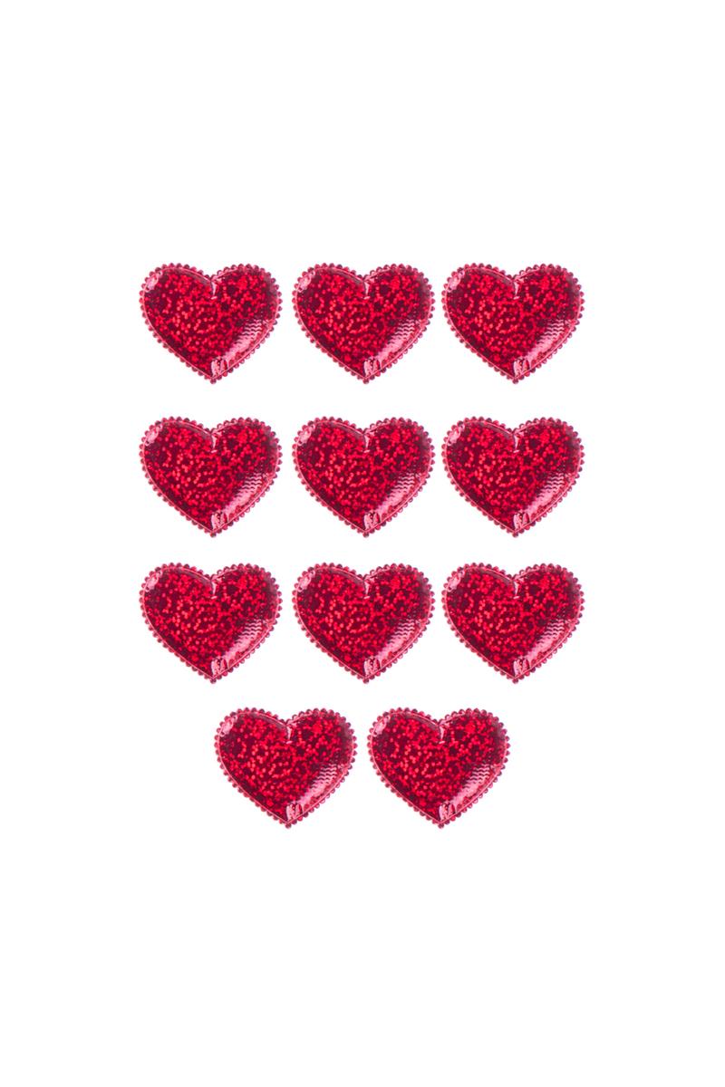 Hologramlı Kırmızı Kalp Sticker Dekor Süs 4 x 4cm 10 Adet