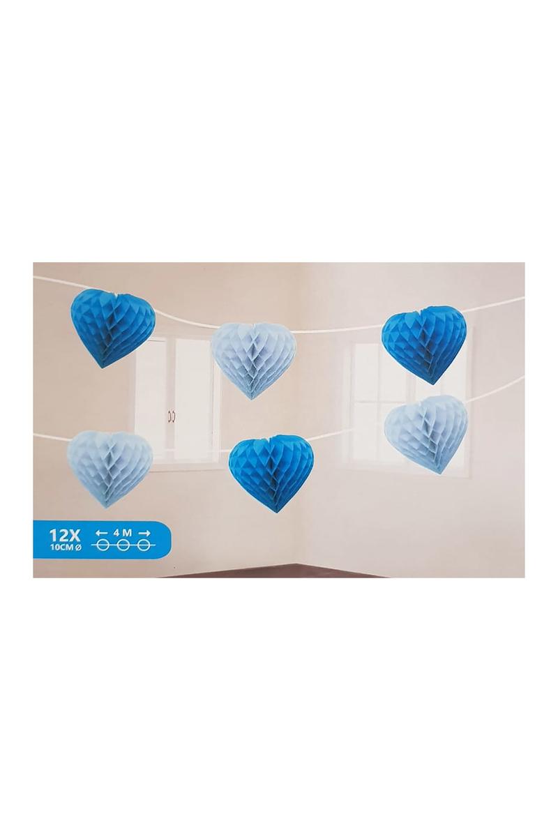 Mavi Kalp Petek İp Süs 12li 4m