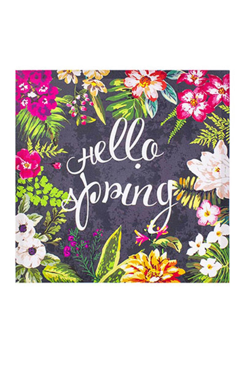 Kanvas Tablo Hello Spring Gri 40x40cm 1 Adet - Thumbnail