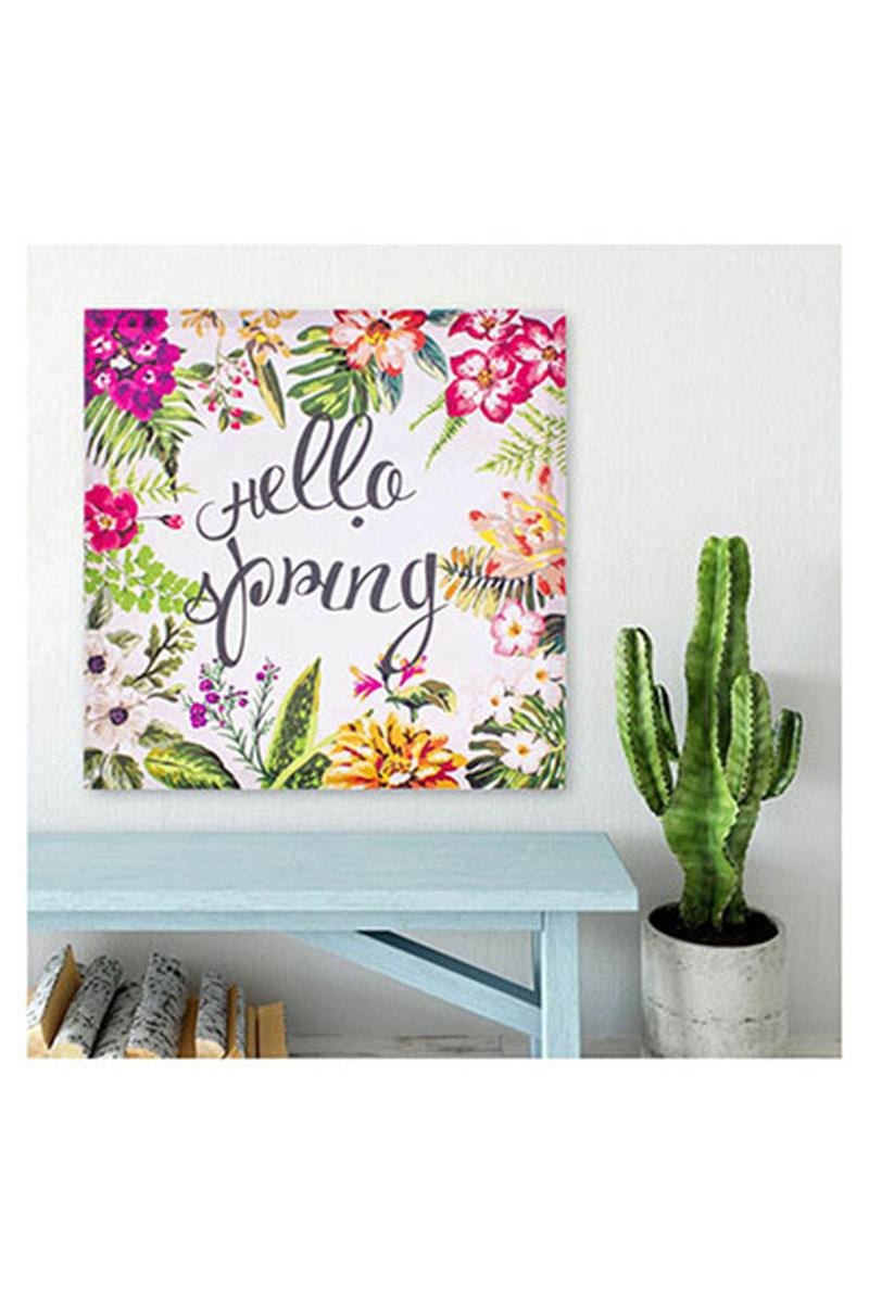 Kanvas Tablo Hello Spring Krem 40x40cm 1 Adet - Thumbnail