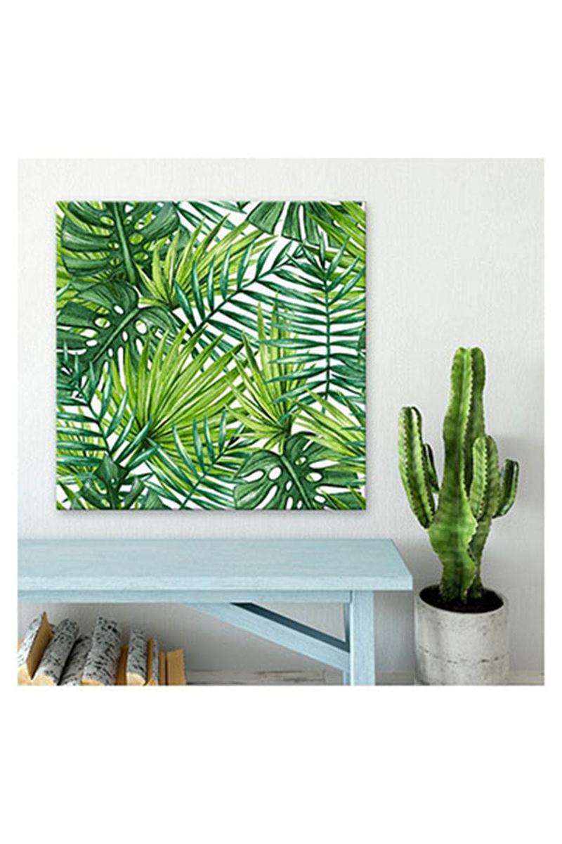 Kanvas Tablo Tropikal Yapraklar 40x40cm 1 Adet - Thumbnail