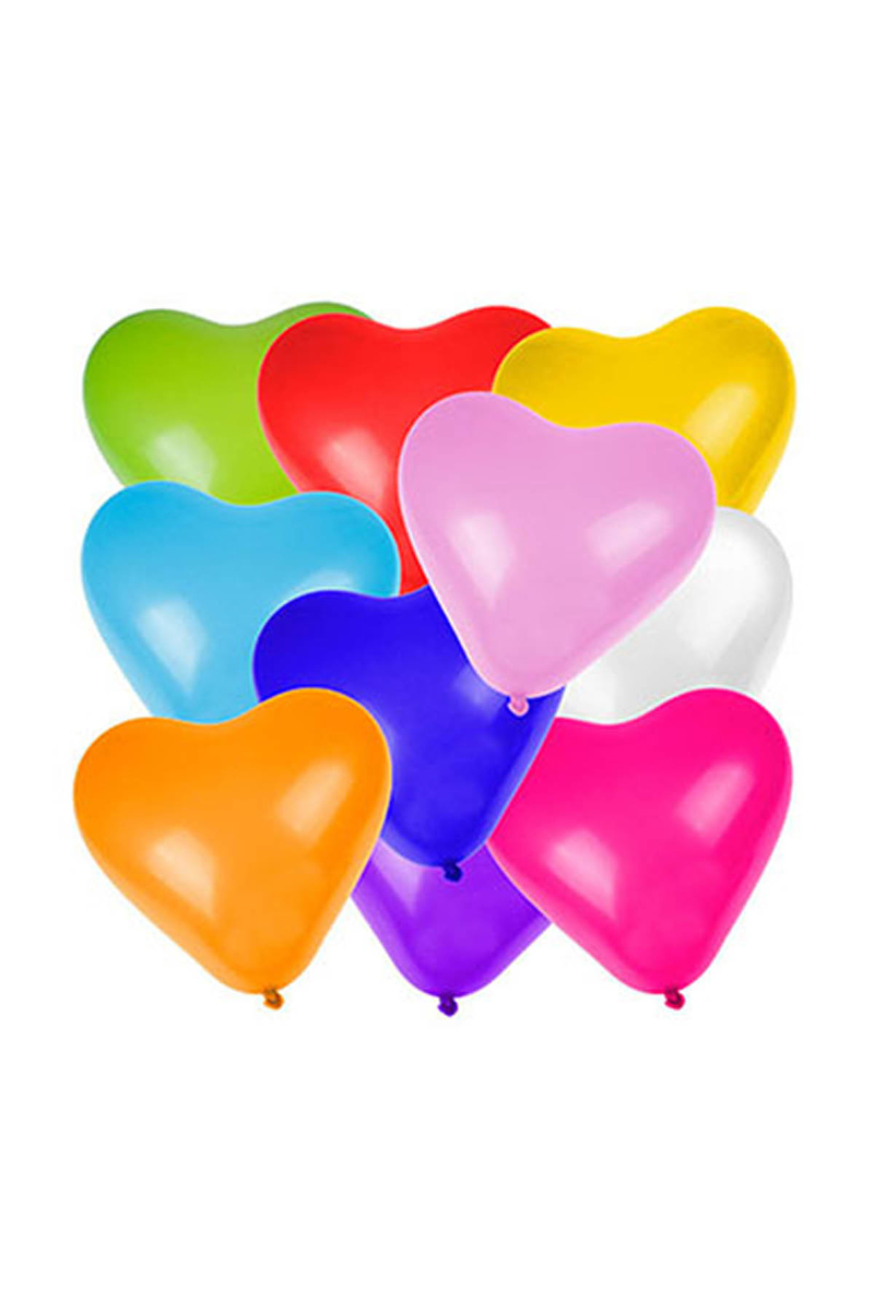 Karışık Renkli Lateks Kalp Balon 10lu