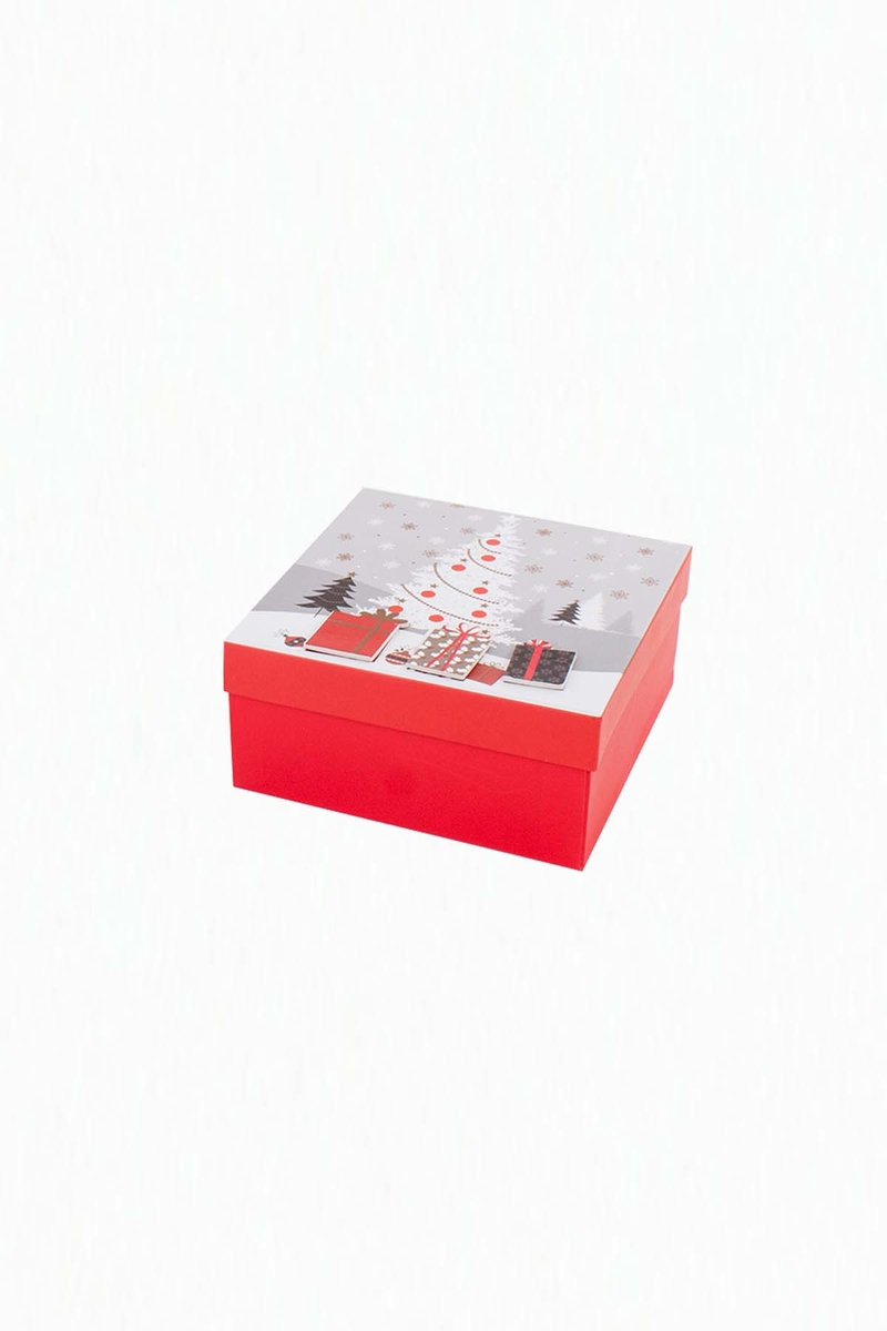 Karlı Çam Ağacı Desenli Kırmızı Hediye Kutusu 18x18x8cm 1 Adet