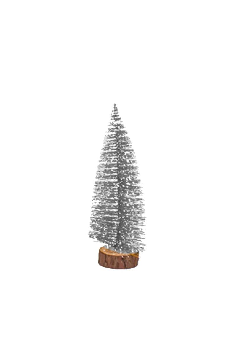 Karlı Gümüş Çam Ağacı Dekor Süs 25cm 1 Adet