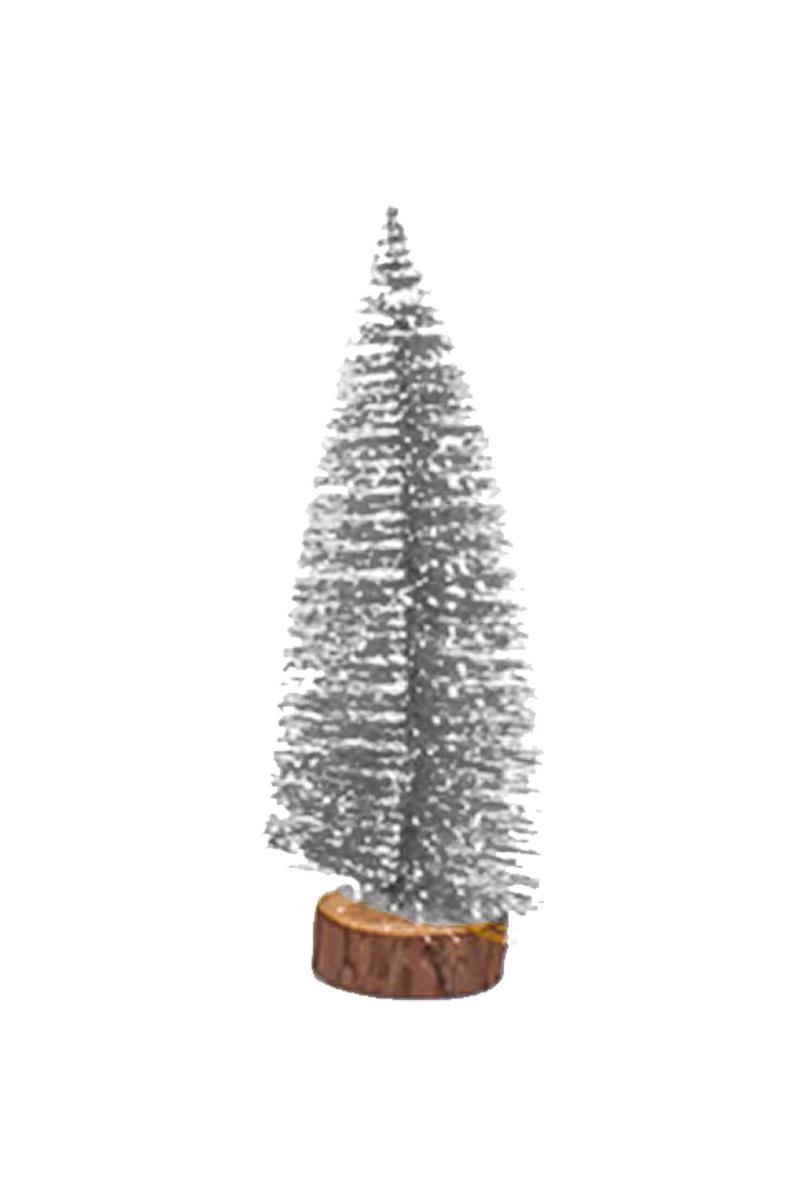 Karlı Gümüş Çam Ağacı Dekor Süs 40cm 1 Adet