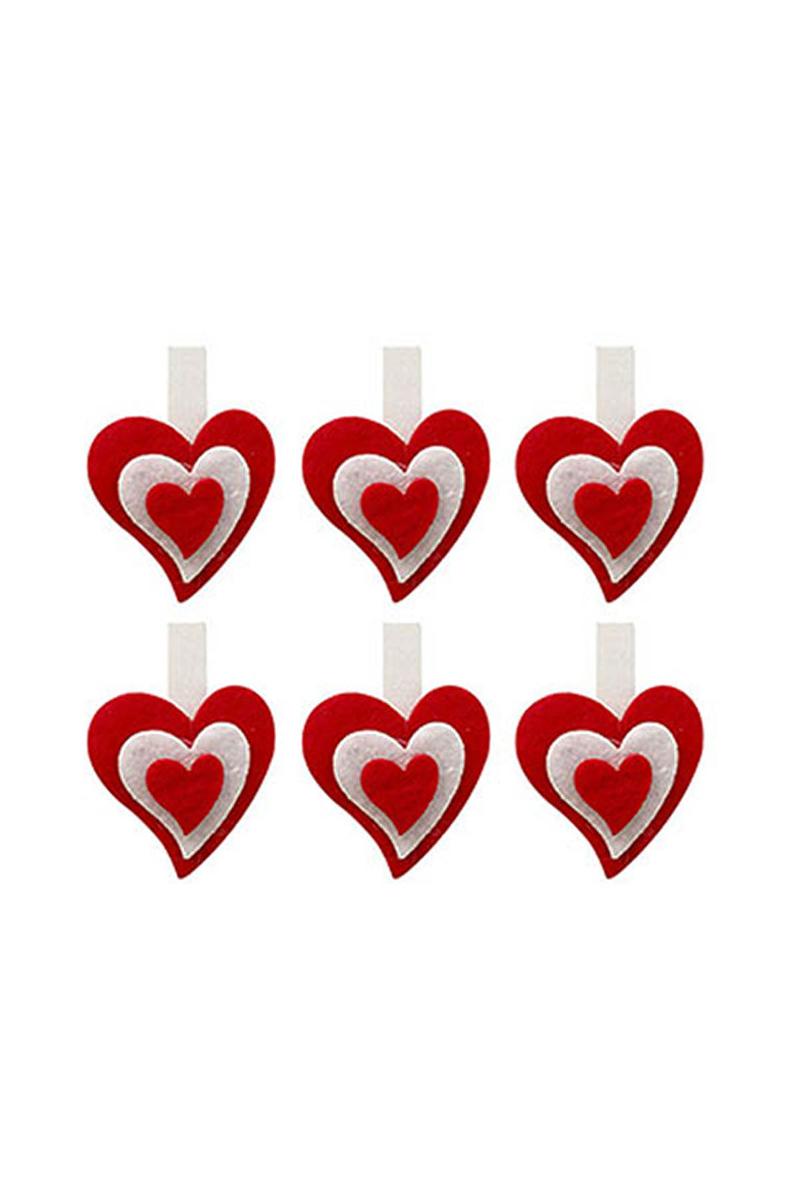 Keçe Kalp Dekoratif Mandal 6lı