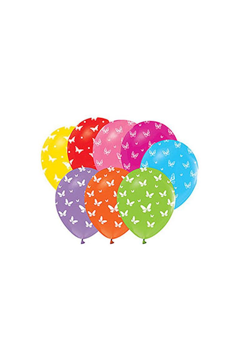 Kelebek Baskılı Renkli Balon 10lu