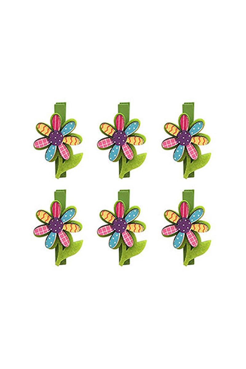 Pembe Yeşil Kelebek Mandal 6lı - Thumbnail