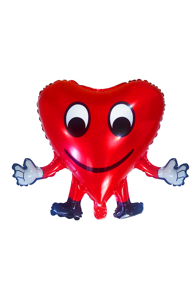 Kırmızı Ayaklı Kalp Folyo Balon 1 Adet