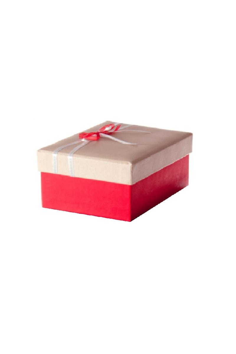 Kırmızı Beyaz Kurdeleli Kırmızı Hediye Kutusu 19,5 x 13,5 x 9cm 1 Adet