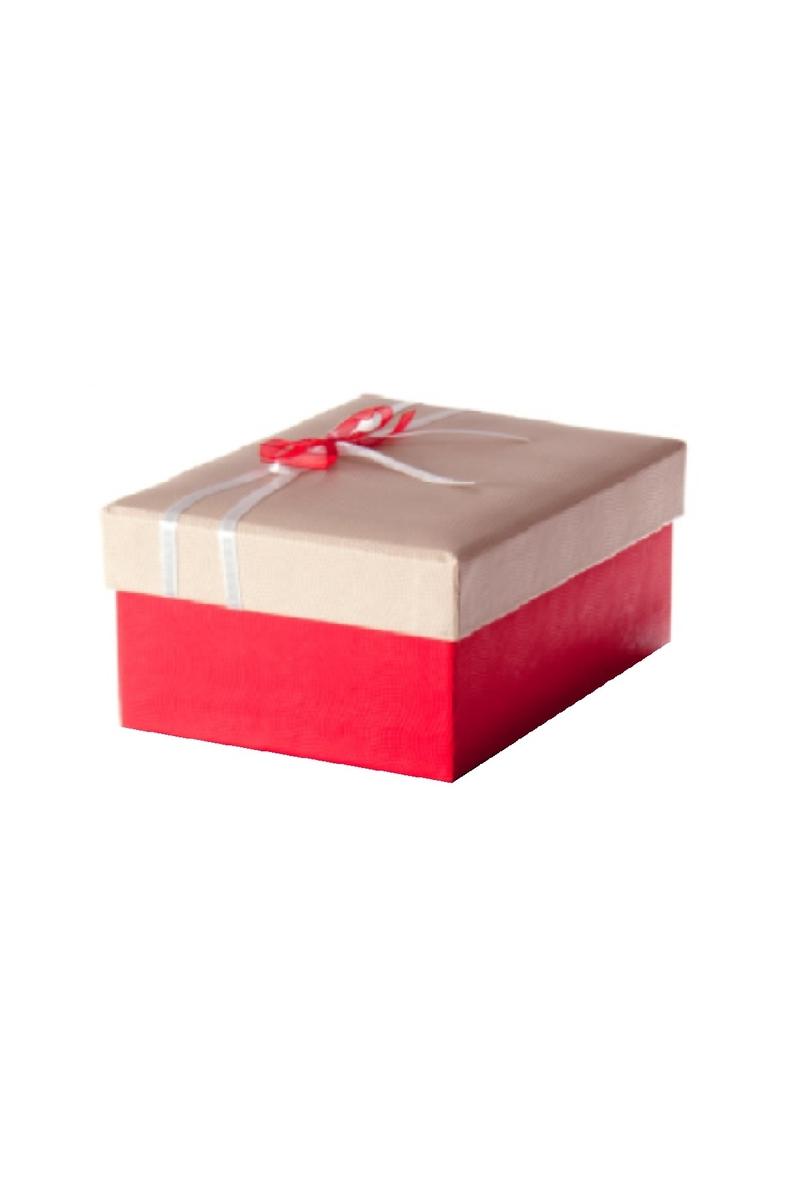 Kırmızı Beyaz Kurdeleli Kırmızı Hediye Kutusu 22 x 16 x 10cm 1 Adet
