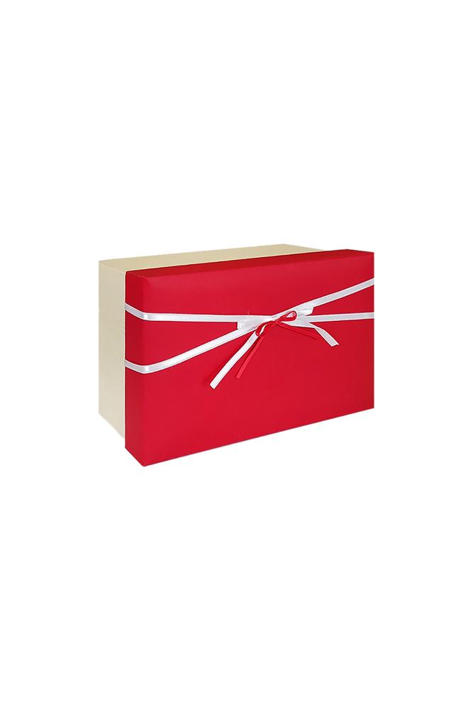 Kırmızı Beyaz Kurdeleli Krem Hediye Kutusu 19,5 x 13,5 x 9cm 1 Adet