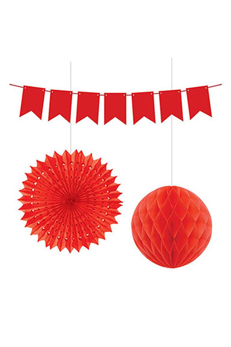 Dekorasyon Süs Seti Kırmızı 1 Adet - Thumbnail