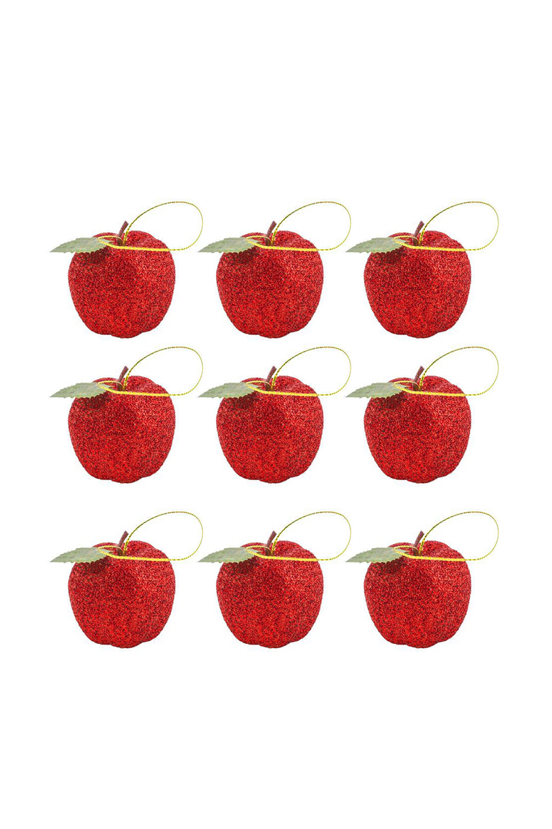 Kırmızı Elma Yılbaşı Ağaç Süsü 9lu