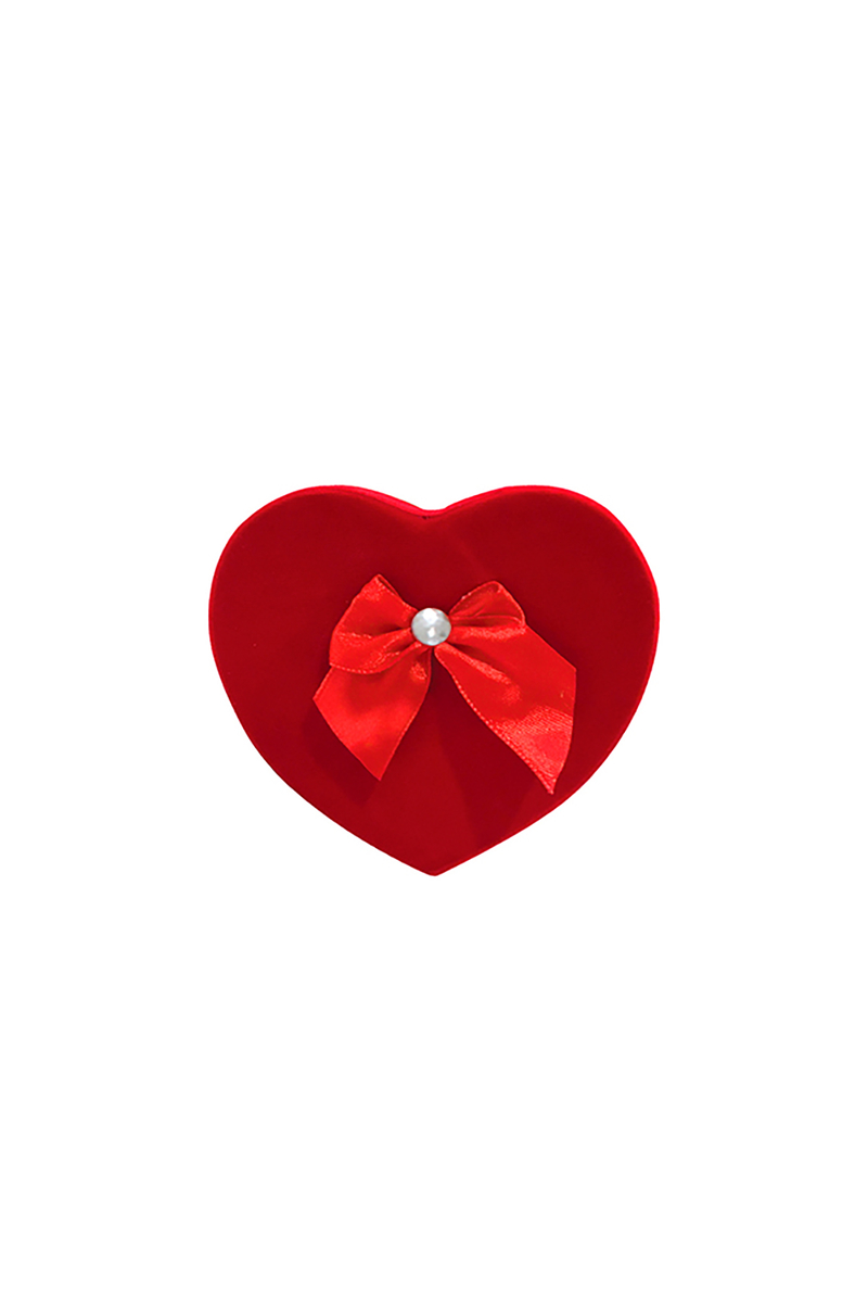 Kırmızı Fiyonklu Kalp Kutu 1 Adet