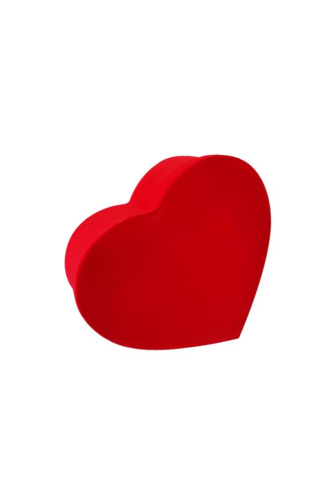 Kırmızı Flok Lüks Hediye Kalp Kutu 23 x 21 x 9cm 1 Adet - Thumbnail
