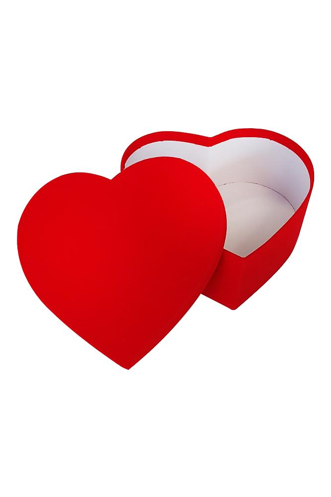 Kırmızı Flok Lüks Hediye Kalp Kutu 25 x 23 x 10cm 1 Adet - Thumbnail