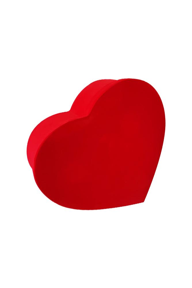 Kırmızı Flok Lüks Hediye Kalp Kutu 25 x 23 x 10cm 1 Adet