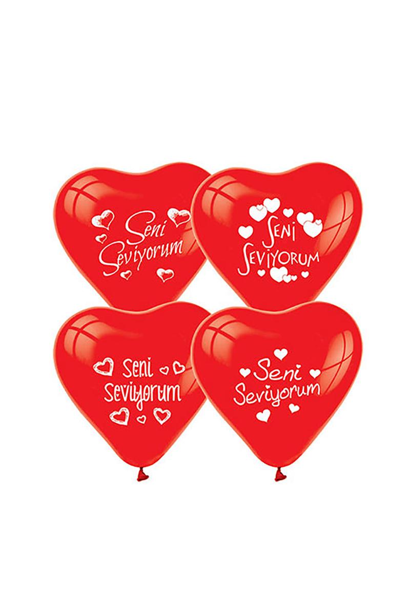 Seni Seviyorum Baskılı Kırmızı Lateks Kalp Balon 10lu