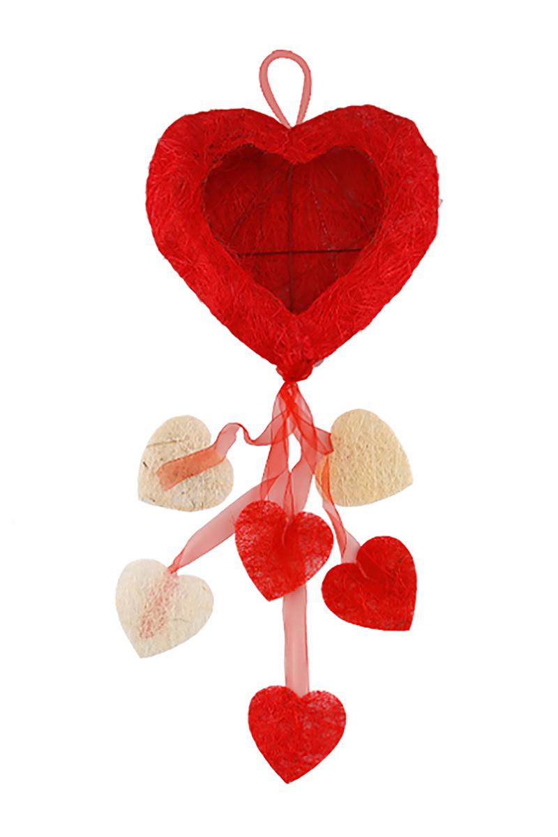Kırmızı Kalp Çerçeve Kapı Süsü 30 x 80cm 1 Adet