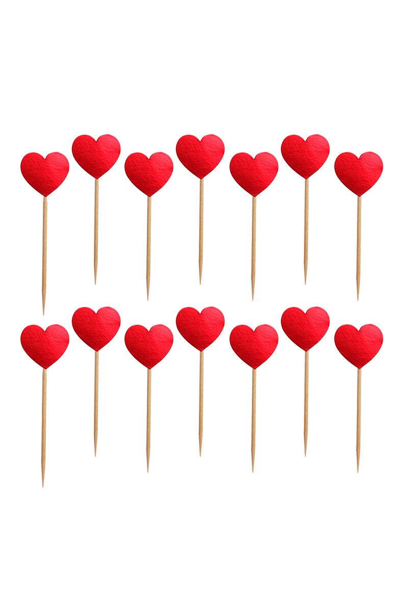 Kırmızı Kalp Dekoratif Kağıt Kürdan 15li