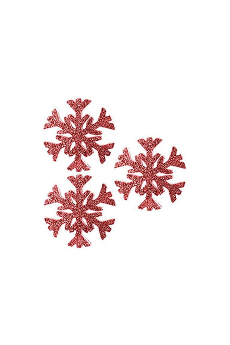 Kırmızı Kar Tanesi Dekor Asma Süs 17cm 3lü