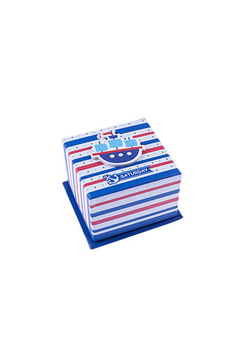 Kırmızı Mavi Vapurlu Hediye Kutusu 1 Adet - Thumbnail