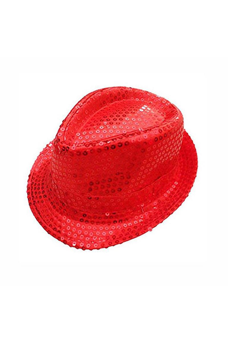 Kırmızı Payetli Fötr Şapka 1 Adet