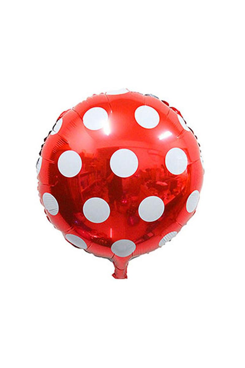 Kırmızı Puantiyeli Folyo Balon 43cm 2li