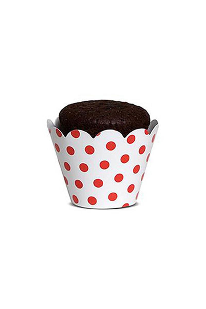 Kırmızı Puantiyeli Kek Tacı 10 Adet