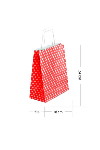 Roll-Up Kraft Çanta Kırmızı Puantiyeli Küçük Boy 18x24cm 25li