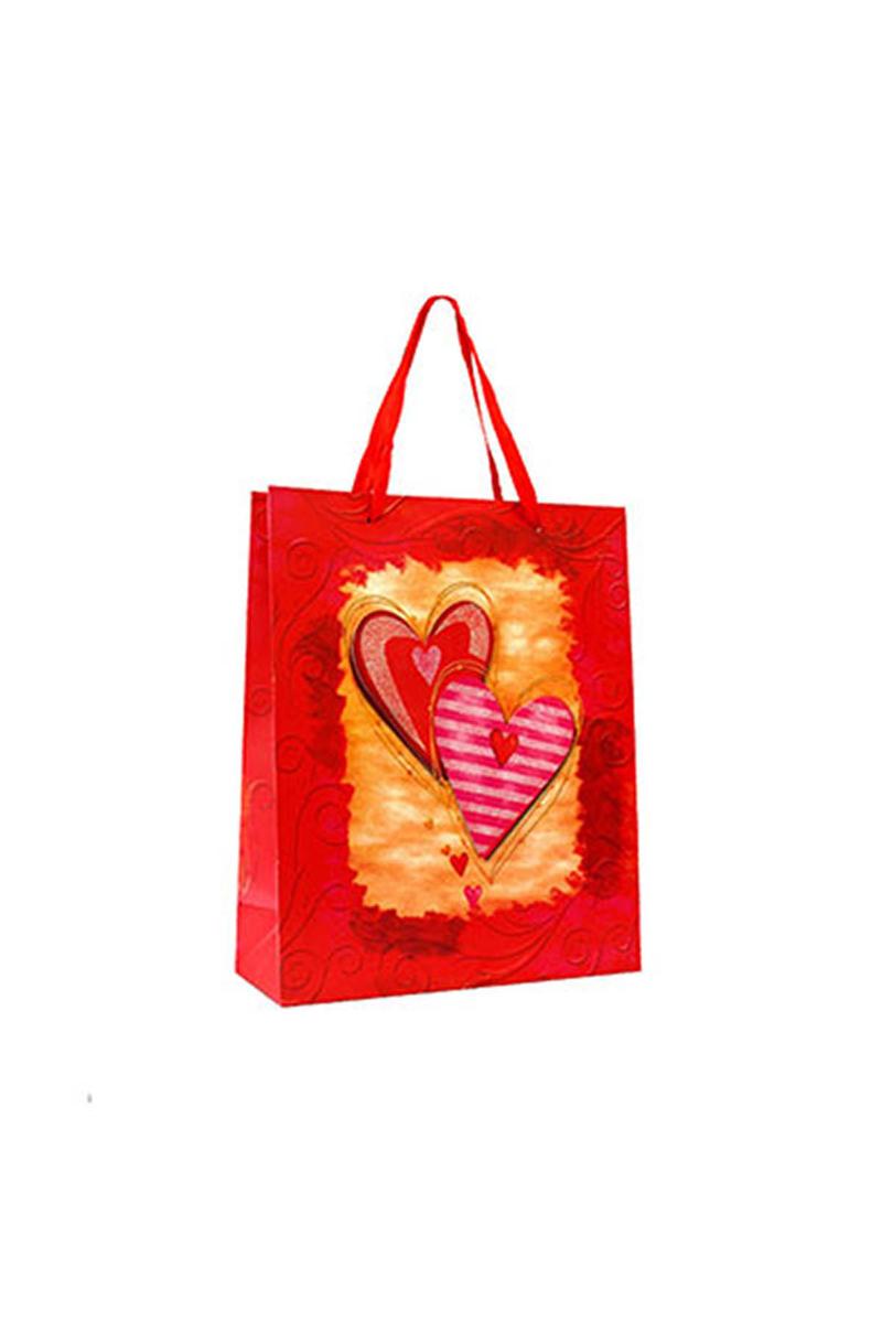 Kırmızı Simli Kalp Karton Hediyelik Çanta 3D 26cmx32cm 1 Adet
