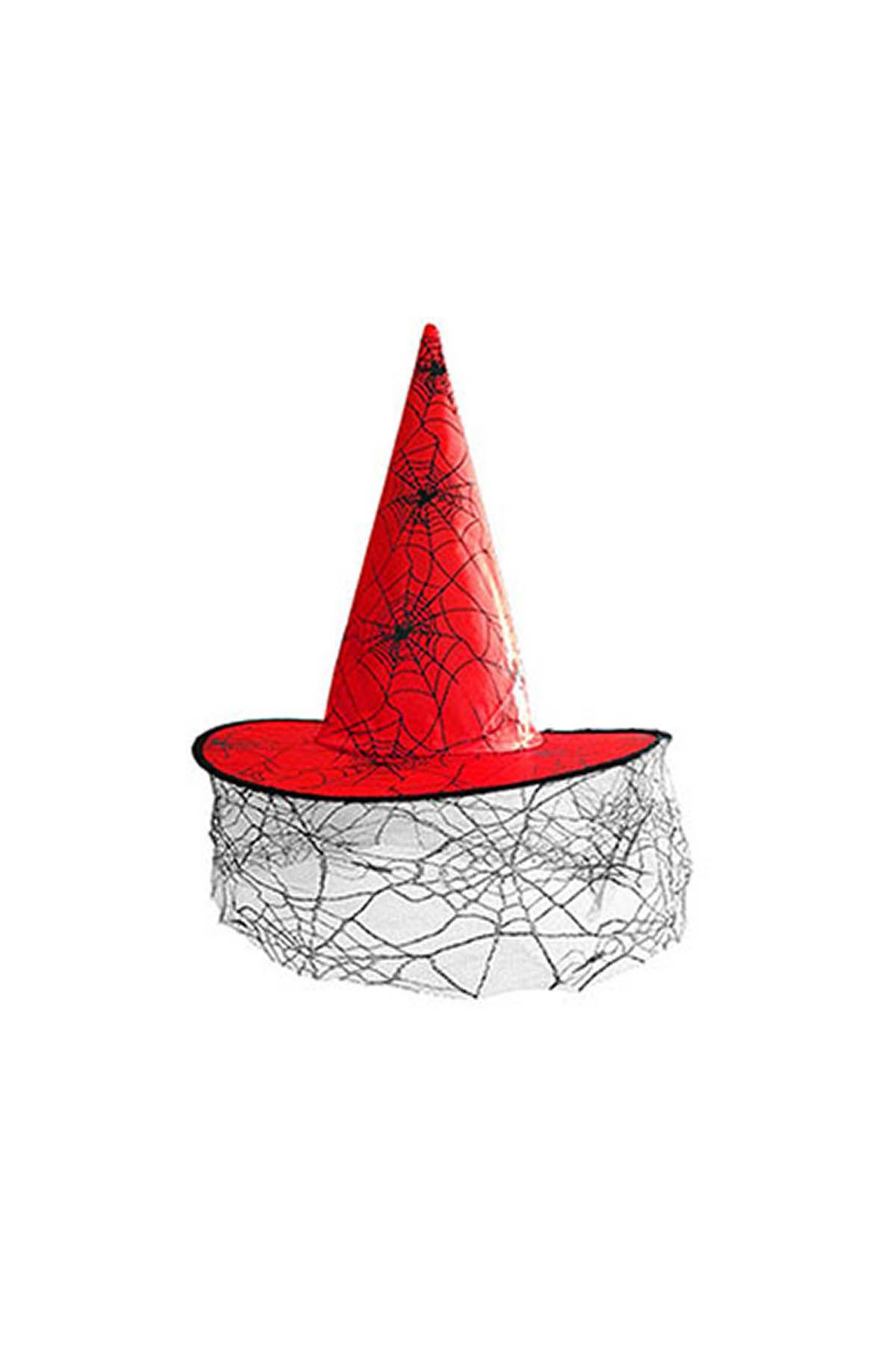 Kırmızı Tüllü Cadı Şapkası