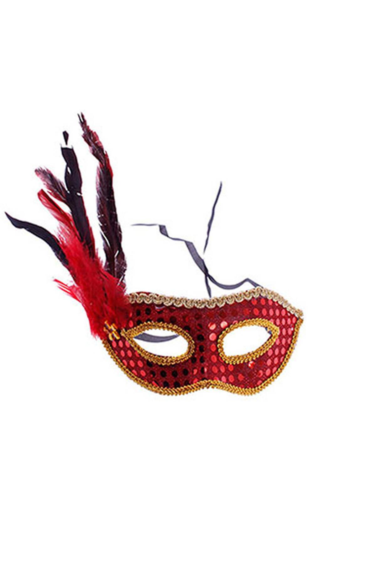 Kırmızı Tüy Payetli Balo Maskesi