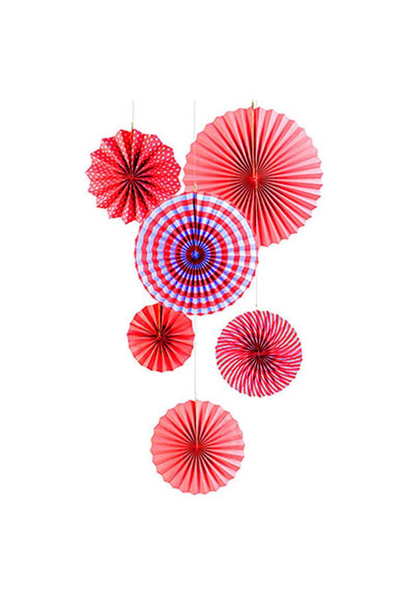 Kırmızı Yelpaze Süs 35cm 6lı