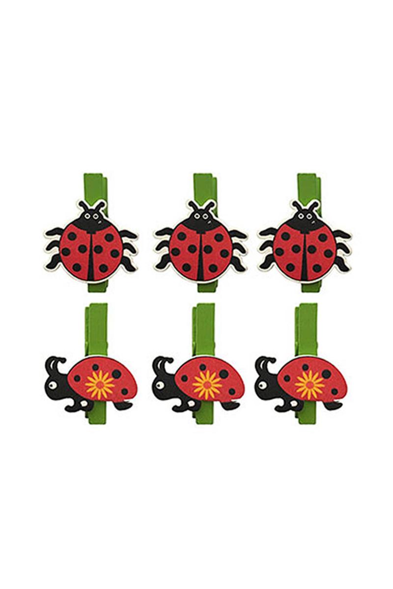 Kırmızı Yeşil Uğur Böceği Mandal 6 lı