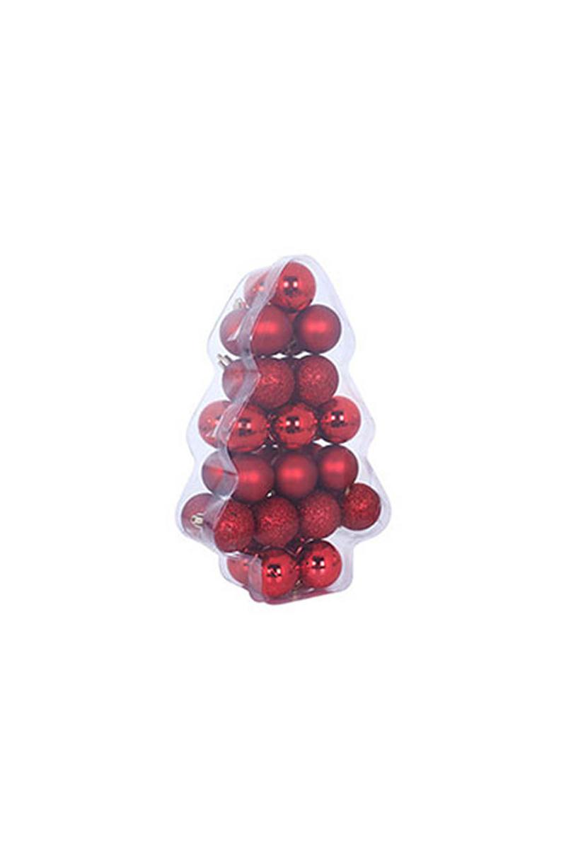 Kırmızı Yılbaşı Ağaç Süs Seti 6cm 34lü