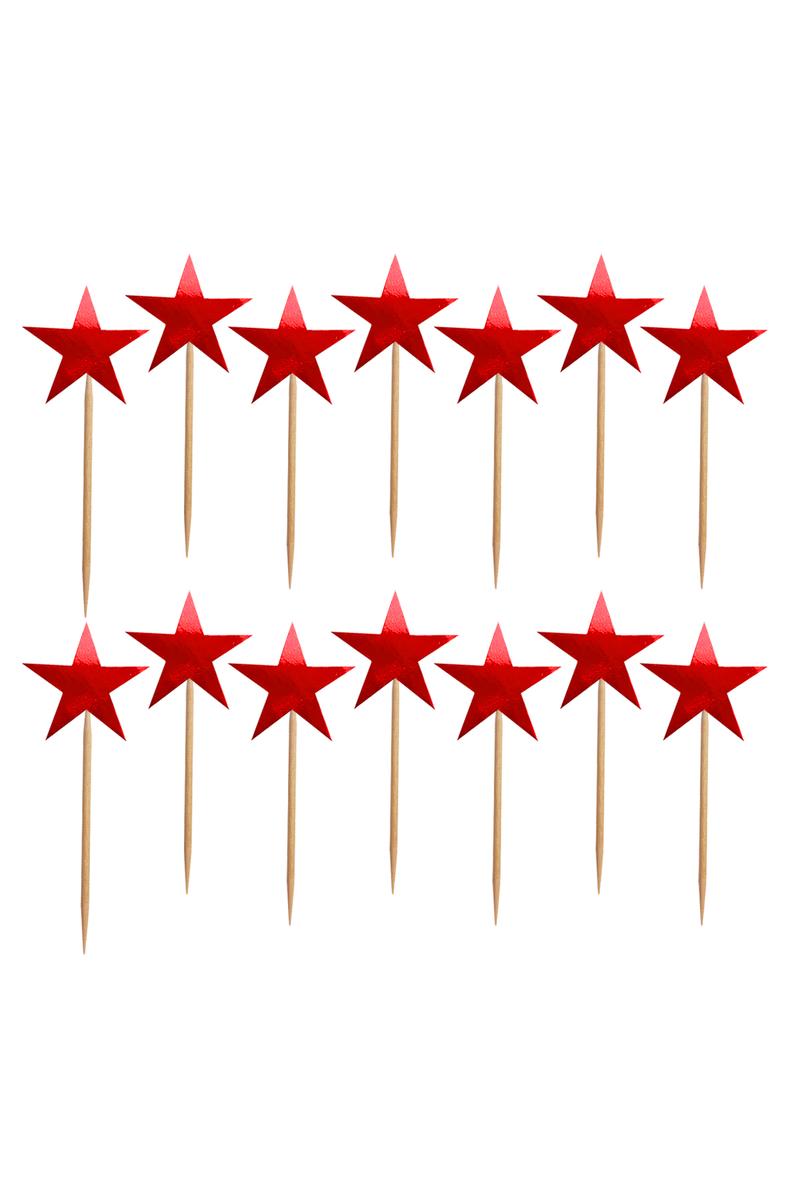Kırmızı Yıldız Dekoratif Kağıt Kürdan 15li