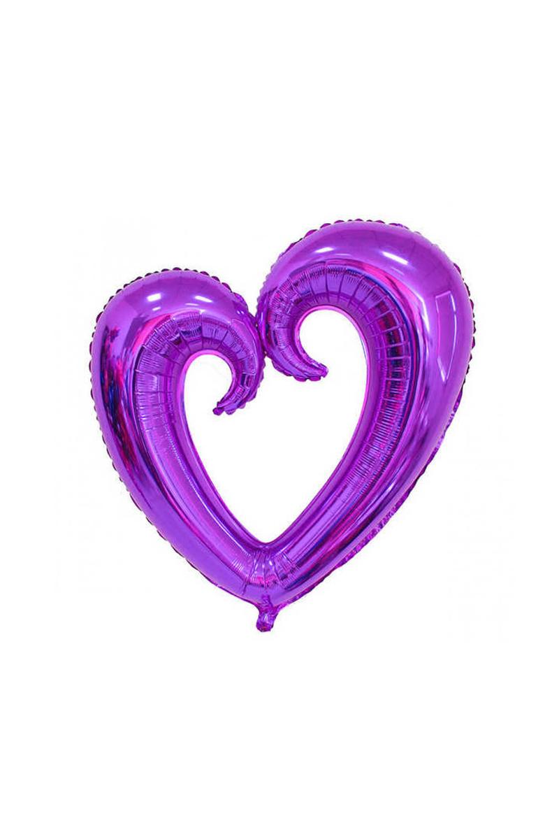 Kıvrımlı Kalp Folyo Balon 96cm x 109cm Mor 1 Adet
