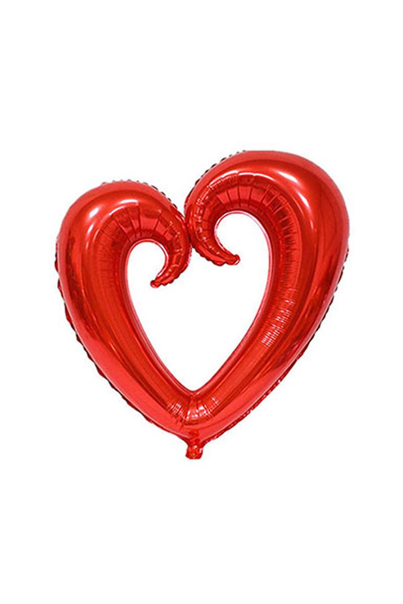 Kıvrımlı Kalp Folyo Balon 96cm x 109cm Kırmızı 1 Adet
