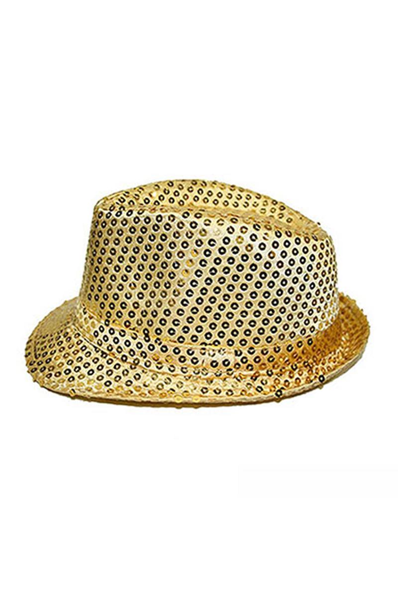 Altın Payetli Fötr Şapka 1 Adet