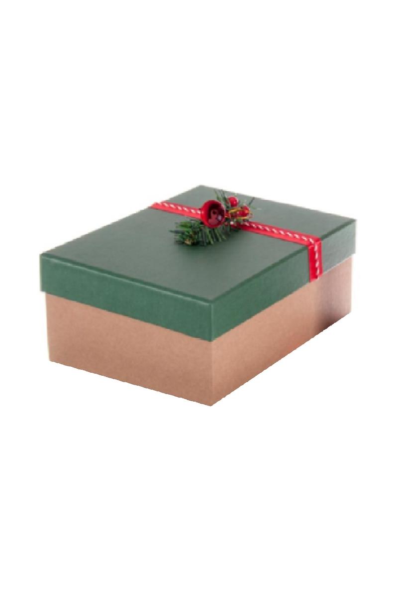 Kraft Hediye Kutusu Süslü Yeşil Kapaklı 23 x 16 x 9cm 1 Adet